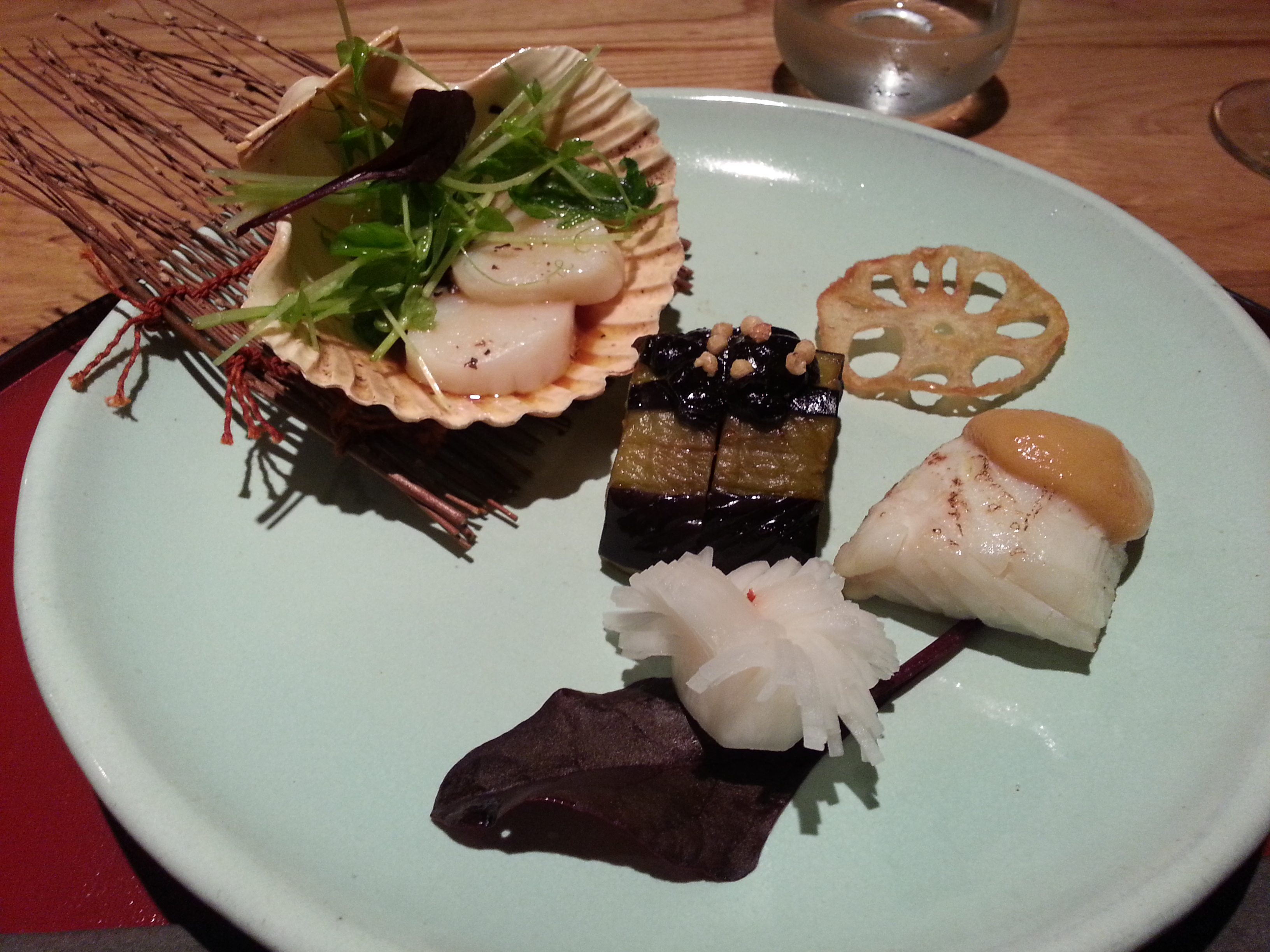 Japanese cuisine Yama - scallops aubergine sea bass