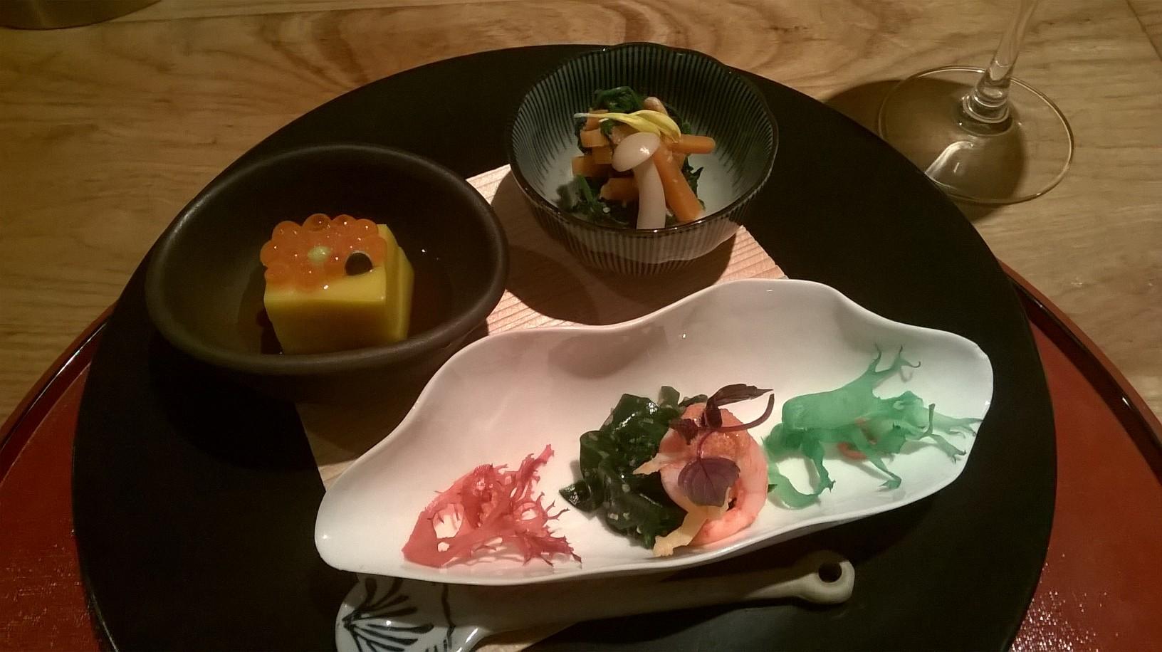 Japanese cuisine Yama - Pumpkin tofu spinach shrimp