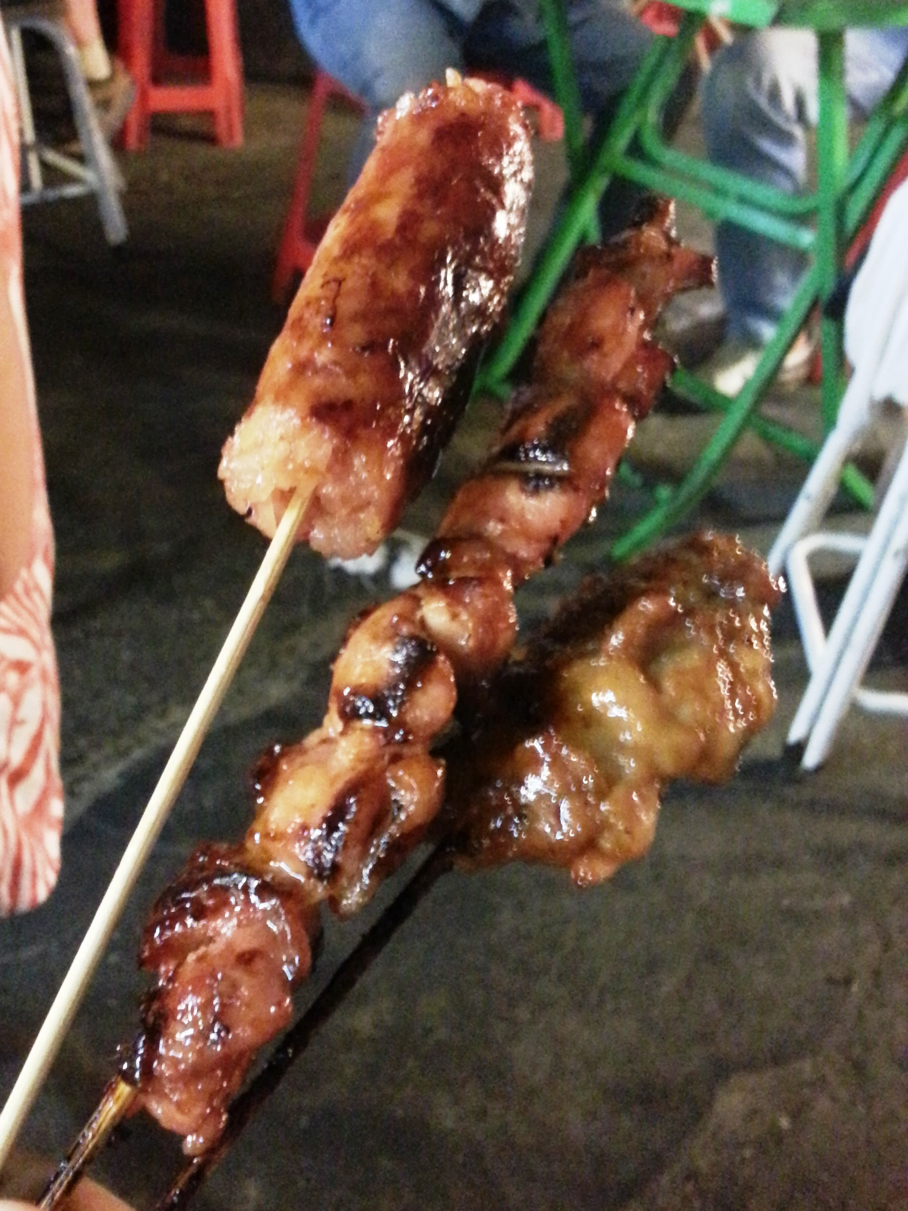 Bangkok street food - meat on a stick